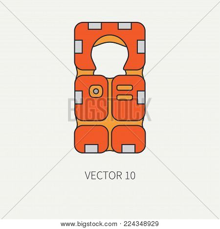 Line flat color vector beach rescue equipment icon life jacket. Retro style. Ocean, sea beach. Protection, safety. Summer adventure vacation. Scuba aqualung. Illustration element for design, wallpaper