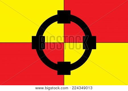 Flag of Olsberg is a town in the Hochsauerland district, in North Rhine-Westphalia, Germany. Vector illustration
