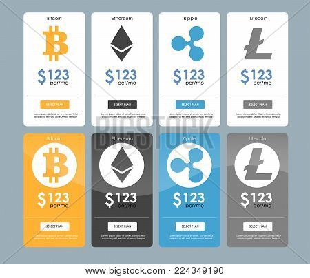 Set of offer tariffs for cryptocurrency operations. ui ux vector banner for web app. set of pricing table, order, box, button, list with plan for website in flat design.