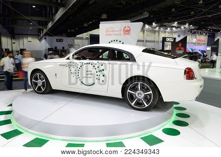 DUBAI, UAE - NOVEMBER 18: The Rolls Royce Wraith of Dubai Police car is on Dubai Motor Show 2017 on November 18, 2017