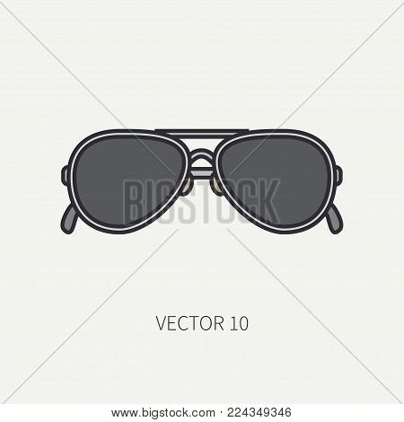 Line flat color vector vintage fashion sunglasses icon. Retro style. Ocean sun, sea beach. Elegance accessory. Summer adventure vacation. Reflection lens. Illustration, element for design, wallpaper