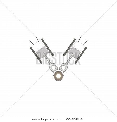 Schematic drawing of w-shaped internal combustion engine. Vector illustration