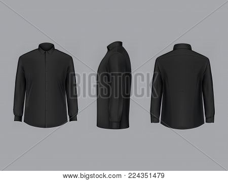 Vector realistic black male shirt with long sleeves and buttons, clean and ironed, in front, back and side view, isolated on background. Mockup of formal or casual clothes, template for your design