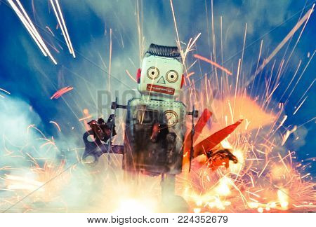 little blue  robot  in a big  explosion