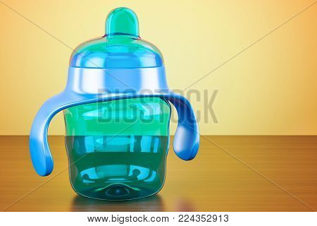 Non-spill cup, blue color on the wooden table, 3D rendering