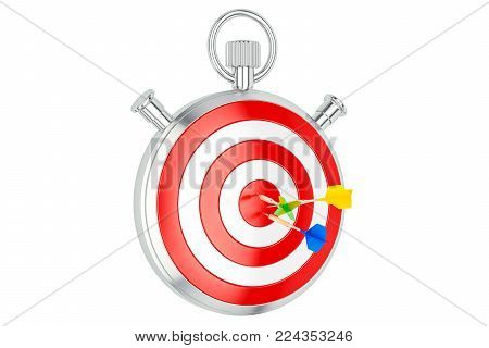 Stopwatch with target, aim and solution concept, 3D rendering  isolated on white background