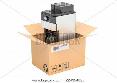 Coffeemaker or coffee machine inside cardboard box, delivery concept. 3D rendering isolated on white background