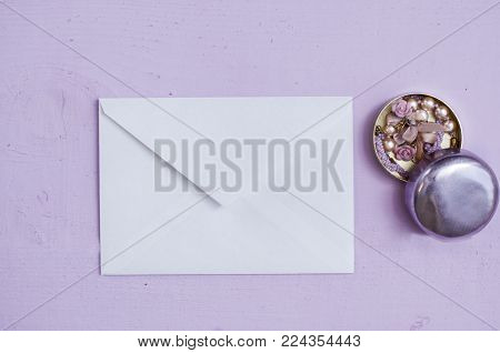 different bijouterie with lace  frames pink background