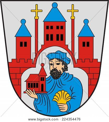 Coat of arms of Winterberg is a town in the Hochsauerland district of North Rhine-Westphalia, Germany. Vector illustration