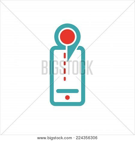 Map pointer icon on smartphone touchscreen vector. Rad and blue map pictogram on mobile phone screen. Geolocation sign on cellphone. map pointer icon in two colors.