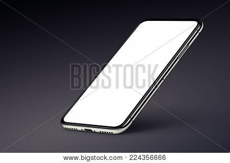 Perspective smartphone like iPhone X mockup on dark background. Isometric smartphone mockup with shadow. 3D illustration.