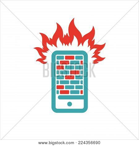Firewall icon on smartphone screen vector illustration. Mobile phone button on white background. Security flat phone firewall. Fire around smartphone.