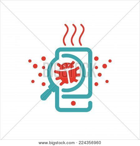 Virus searrching on smartphone vector illustration. Virus sign and loupe icon on mobile phone screen. Red and blue virus atacking icon. Mobile securite virus.