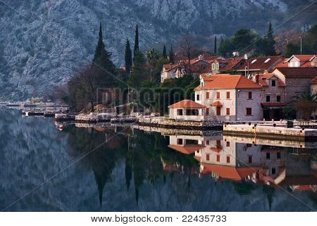 Waterscape With Town And Reflection By Perast, Montenegro