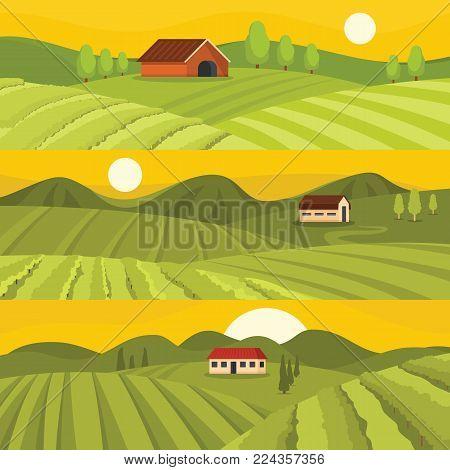 Vineyard wine grapes hills banner horizontal concept set. Flat illustration of 3 vineyard wine grapes hills vector banner horizontal concepts for web