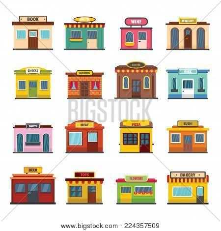 Store facade front shop icons set. Flat illustration of 16 store facade front shop vector icons for web