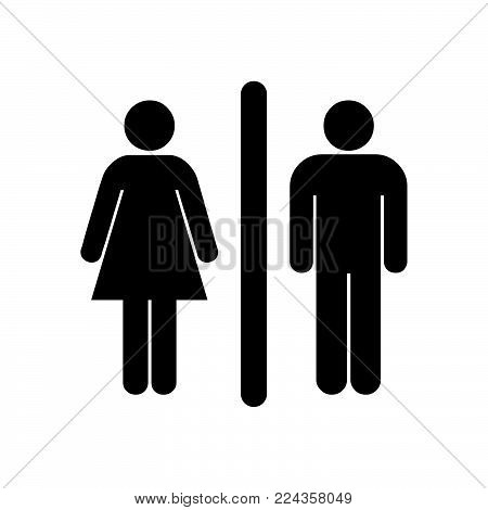 Female and male icon isolated on white background. Female and male icon modern symbol for graphic and web design. Female and male icon simple sign for logo, web, app, UI. Female and male icon flat vector illustration, EPS10.