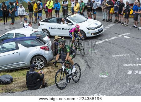 Col du Glandon, France - July 24, 2015: The French cyclist Angelo Tulik of Europcar Team,climbing the road to Col du Glandon in Alps, during the stage 19 of Le Tour de France 2015.