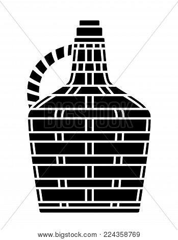 vector black demijohn isolated on white background