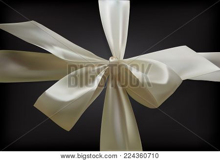 Realistic Bow Of Ribbon Isolated On A Transparent Background. Realistic 3D Vector Bow.