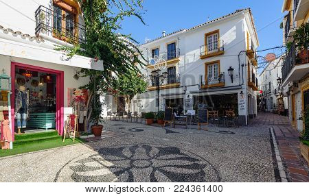 MARBELLA - DECEMBER 2017: Traditional Spanish architecture of old town of Marbella, Andalusia, Spain