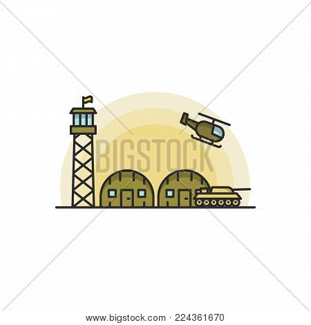Military Base with Army and Air Force Vehicles. Vector illustration on white background in filled line style