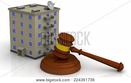 Judicial practice in real estate. Judge's hammer and the apartment house on white surface. Litigation of real estate. Isolated. 3D Illustration