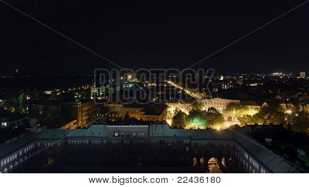 Western Aerial View Of Szeged At Night