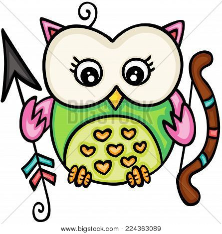 Scalable vectorial representing a cupid love owl girl, illustration isolated on white background.