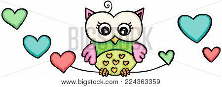 Scalable vectorial representing a owl girl with hearts, illustration isolated on white background.