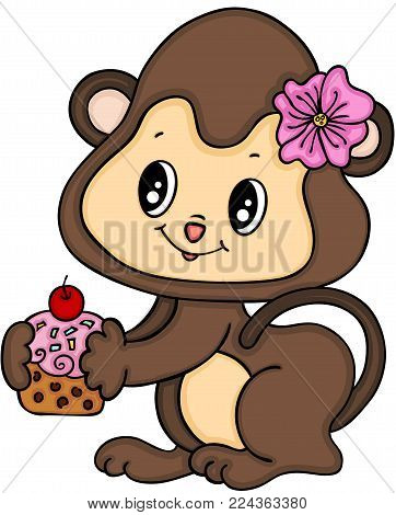 Scalable vectorial representing a monkey girl eating cupcake, illustration isolated on white background.