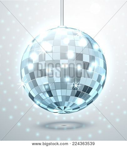 Blue Mirror Disco Ball With Glare And Flicker. Vector Illustration