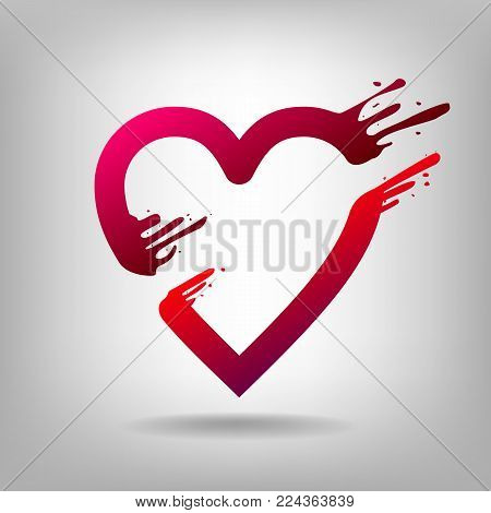 Heart pierced by arrow Amour.  Love sign. Valentines symbol. Broken heart icon