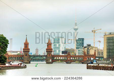 Oberbaum Bridge In Berlin, Germany In The Morning