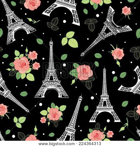 Vector Black Pink Eifel Tower Paris and Roses Flowers Seamless Repeat Pattern Surrounded By St Valentines Day Hearts Of Love. Perfect for travel themed postcards, greeting cards. poster