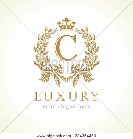 Luxury C letter and crown monogram logo. Laurel elegant beautiful round identity with crown and wreath. Vector letter emblem C for Antique, Restaurant, Cafe, Boutique, Hotel, Heraldic, Jewelry