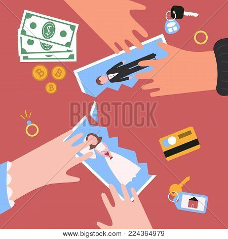 Divorcement. Man and woman hand tear apart wedding photo. Break up of relationship. End of family life. Diamond engagement rings, money. Disengagement of young former wife and husband. Divorce concept poster