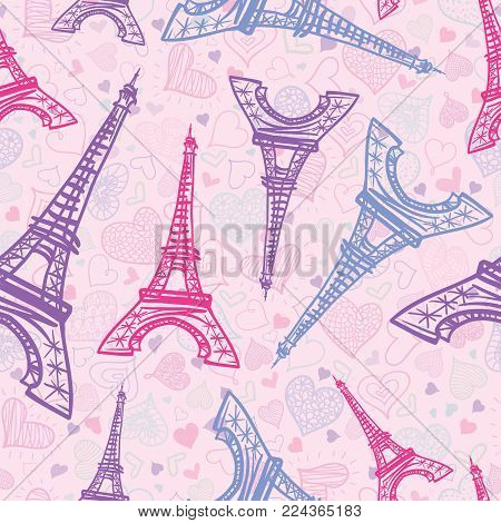 Vector Pink Blue Eifel Tower Paris Seamless Repeat Pattern Surrounded By St Valentines Day Hearts Of Love. Perfect for travel themed greeting cards, wedding invitations. Surface pattern.