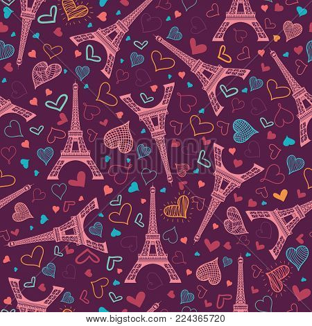 Vector Pink Eifel Tower Paris Seamless Repeat Pattern Surrounded By St Valentines Day Hearts Of Love. Perfect for travel themed greeting cards, wedding invitations. Surface pattern.