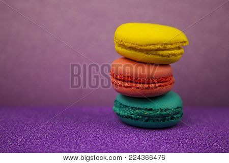 Macaroon. Macaroon on pink background, different colors
