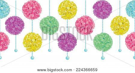 Vector Party Set of Hanging Pastel Colorful Birthday Party Paper Pom Poms and Beads Horizontal Seamless Repeat Border Pattern. Great for handmade cards, invitations, wallpaper, packaging, nursery designs. Party decor.