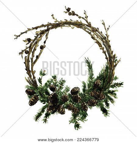 Watercolor green pine branches wreath with cones will be good for greeting cards, post cards, lettering, wedding and other invitations, sale promo design, bussiness e-mail decor, site design and etc.