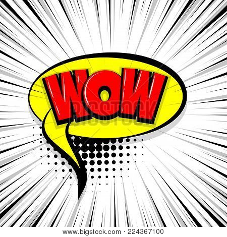 wow, boom Comic text speech bubble balloon. Pop art style wow banner message. Comics book font sound phrase template. Halftone strip vector illustration funny colored design.