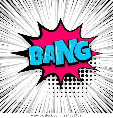 bang, boom, gun Comic text speech bubble balloon. Pop art style wow banner message. Comics book font sound phrase template. Halftone strip vector illustration funny colored design.