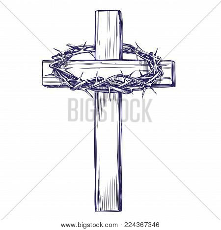 crown of thorns, wooden cross. Easter . symbol of Christianity hand drawn vector illustration sketch.