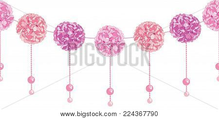 Vector Elegant Dangling Pink Birthday Party Paper Pom Poms and Beads Set Horizontal Seamless Repeat Border Pattern. Great for handmade cards, invitations, wallpaper, packaging.