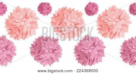 Vector Set of Pink Birthday Party Paper Pom Poms Set Horizontal Seamless Repeat Border Pattern. Great for handmade cards, invitations, wallpaper, packaging, nursery designs. Party decor.