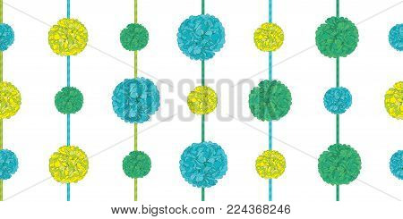 Vector Matching Green Birthday Party Paper Pom Poms Set On Strings Horizontal Seamless Repeat Border Pattern. Great for handmade cards, invitations, wallpaper, packaging, nursery designs. Vector decor.