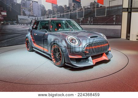 FRANKFURT, GERMANY - SEP 17, 2017: Mini John Cooper Works GP concept 0059 at IAA Auto Show, side view