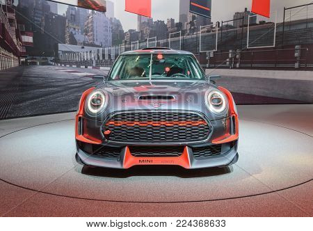 FRANKFURT, GERMANY - SEP 17, 2017: Mini John Cooper Works GP concept 0059 at IAA Auto Show, front view